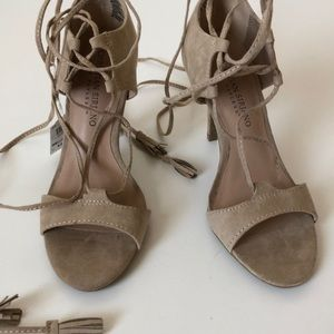 NWT- Nude lace up heels